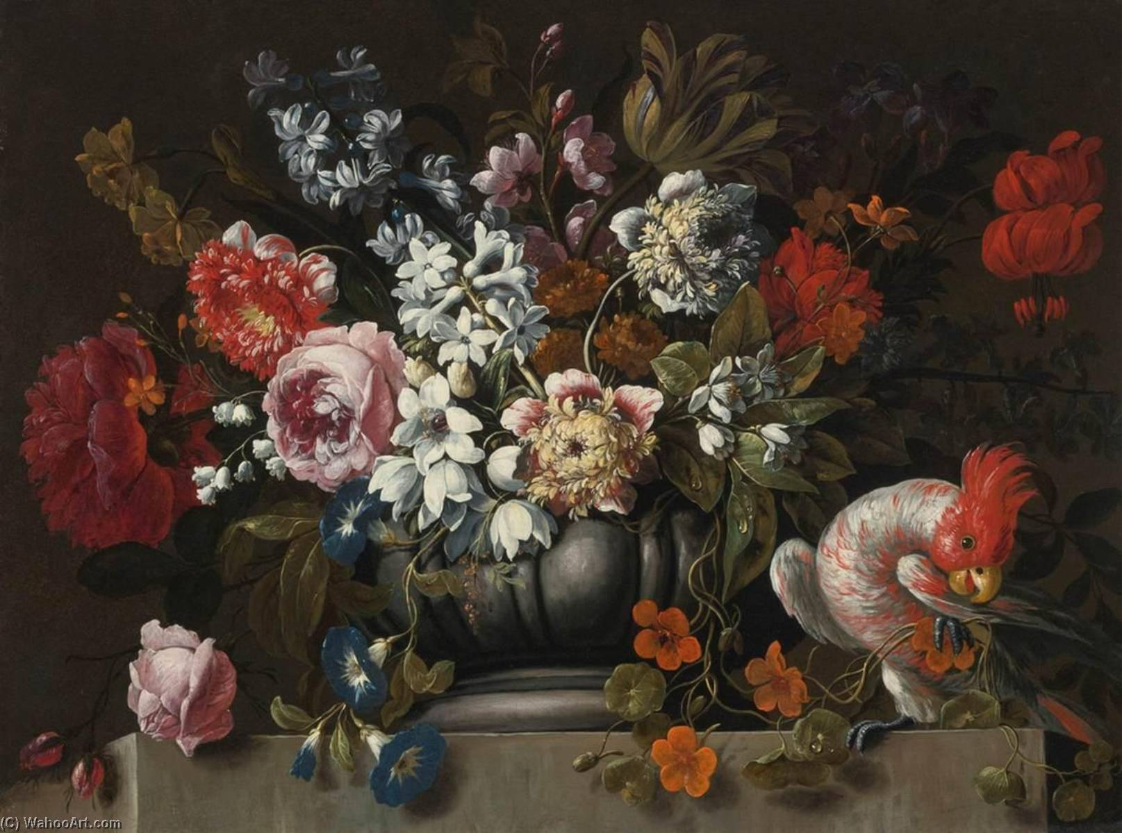 Buy Museum Art Reproductions : Still Life of Flowers in a Stone Urn with a Parrot by Gaspar Peeter The Younger Verbruggen (1664-1730) | ArtsDot.com