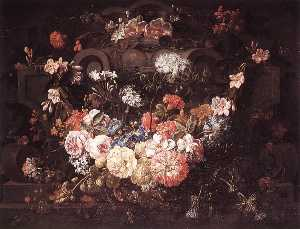 Gaspar Peeter The Younger.. - Cartouche with Flowers