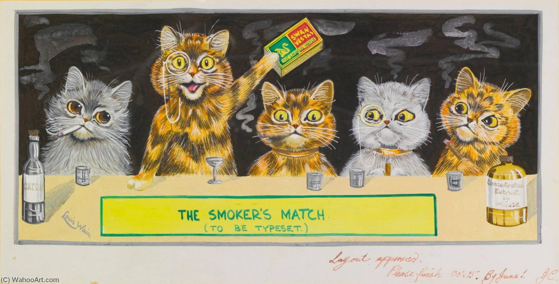 Buy Museum Art Reproductions | The Smoker`s Match by Louis Wain (1860-1939) | ArtsDot.com