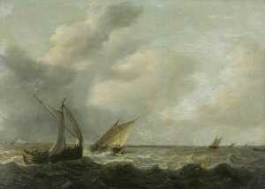 Hendrik Martensz Sorgh - Fishing Boats in a Choppy Sea