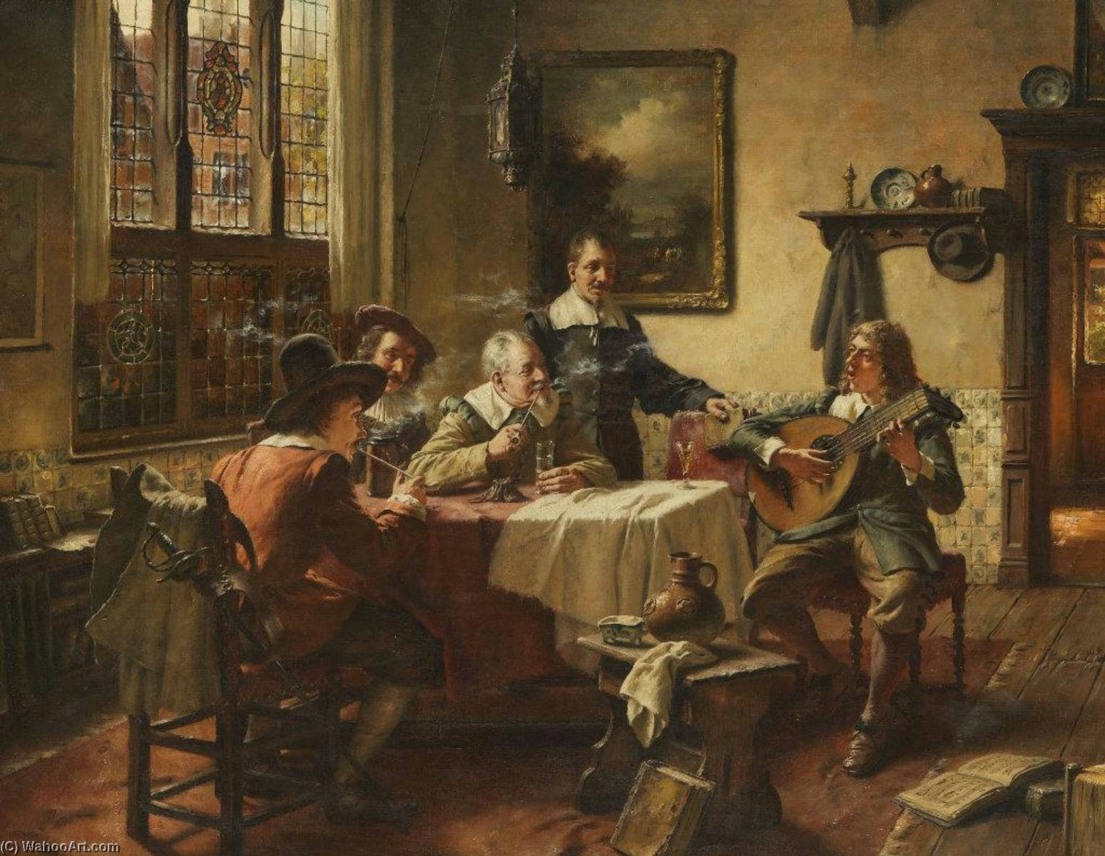 The Lute Player by Fritz Wagner | Oil Painting | ArtsDot.com