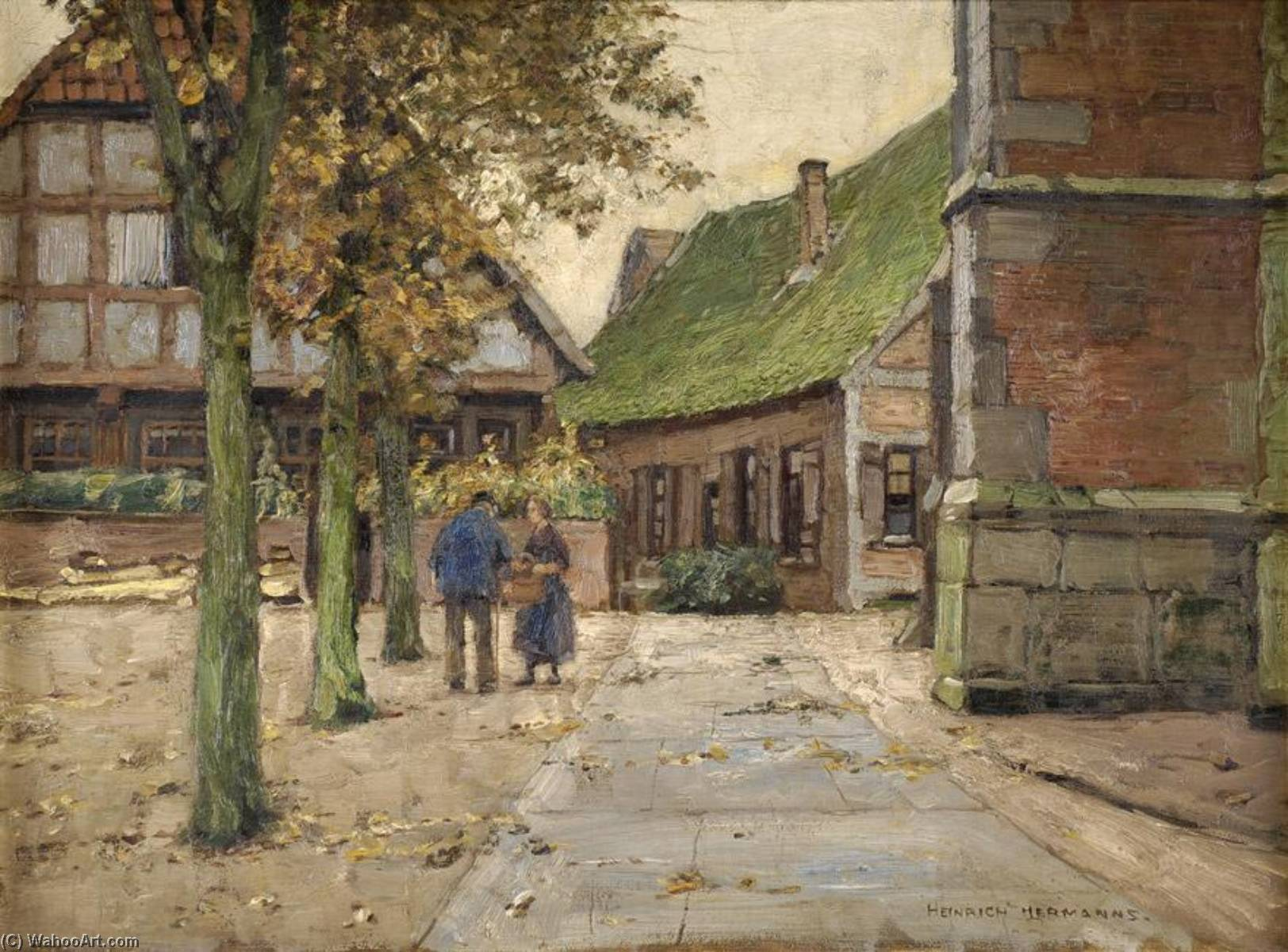 A morning chat by Heinrich Hermanns (1862-1942) | Museum Quality Copies Heinrich Hermanns | ArtsDot.com