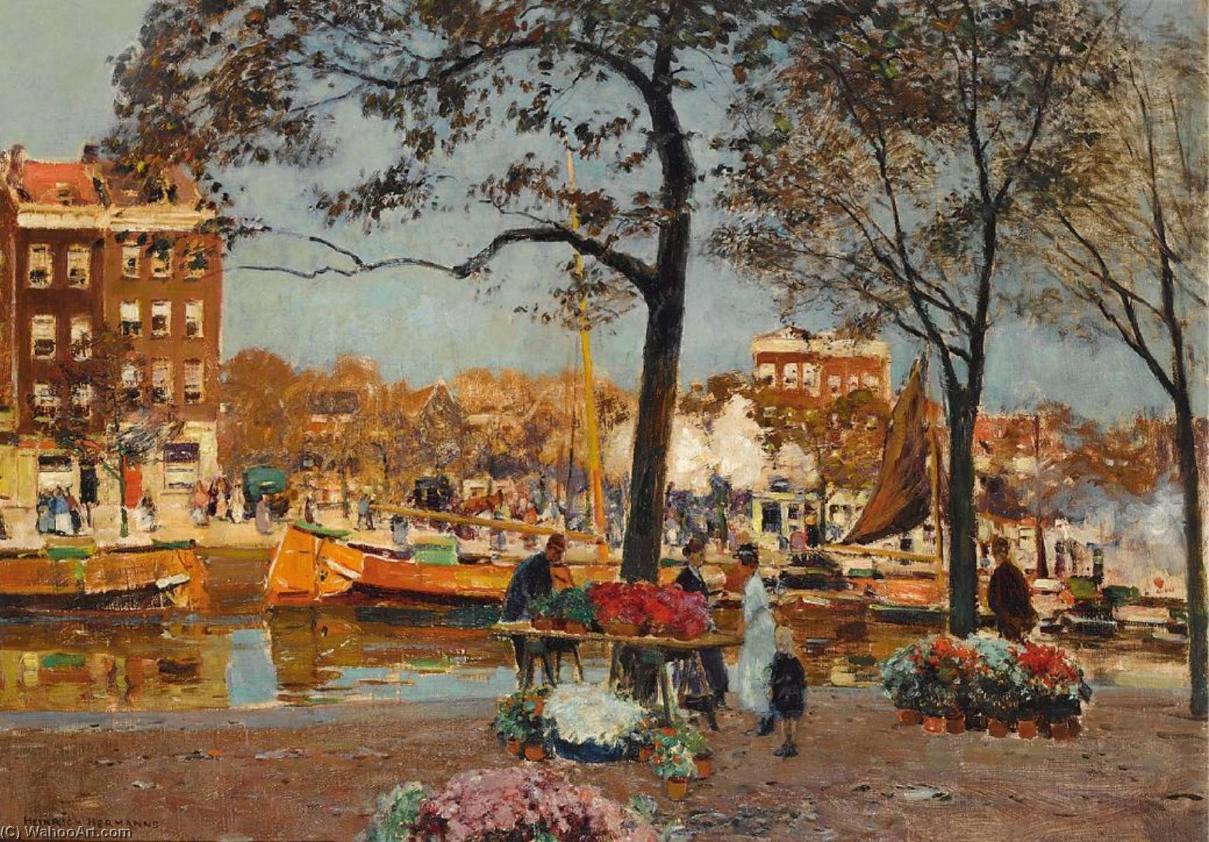 The Flower Market, Amsterdam by Heinrich Hermanns (1862-1942) | Paintings Reproductions Heinrich Hermanns | ArtsDot.com