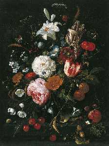 Jan Davidszoon De Heem - Flowers in a glass Vase with Fruit