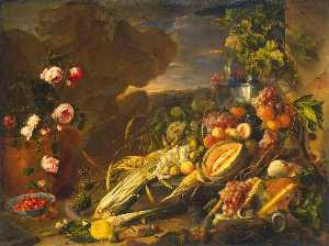 Jan Davidszoon De Heem - Fruit and a Vase of Flowers