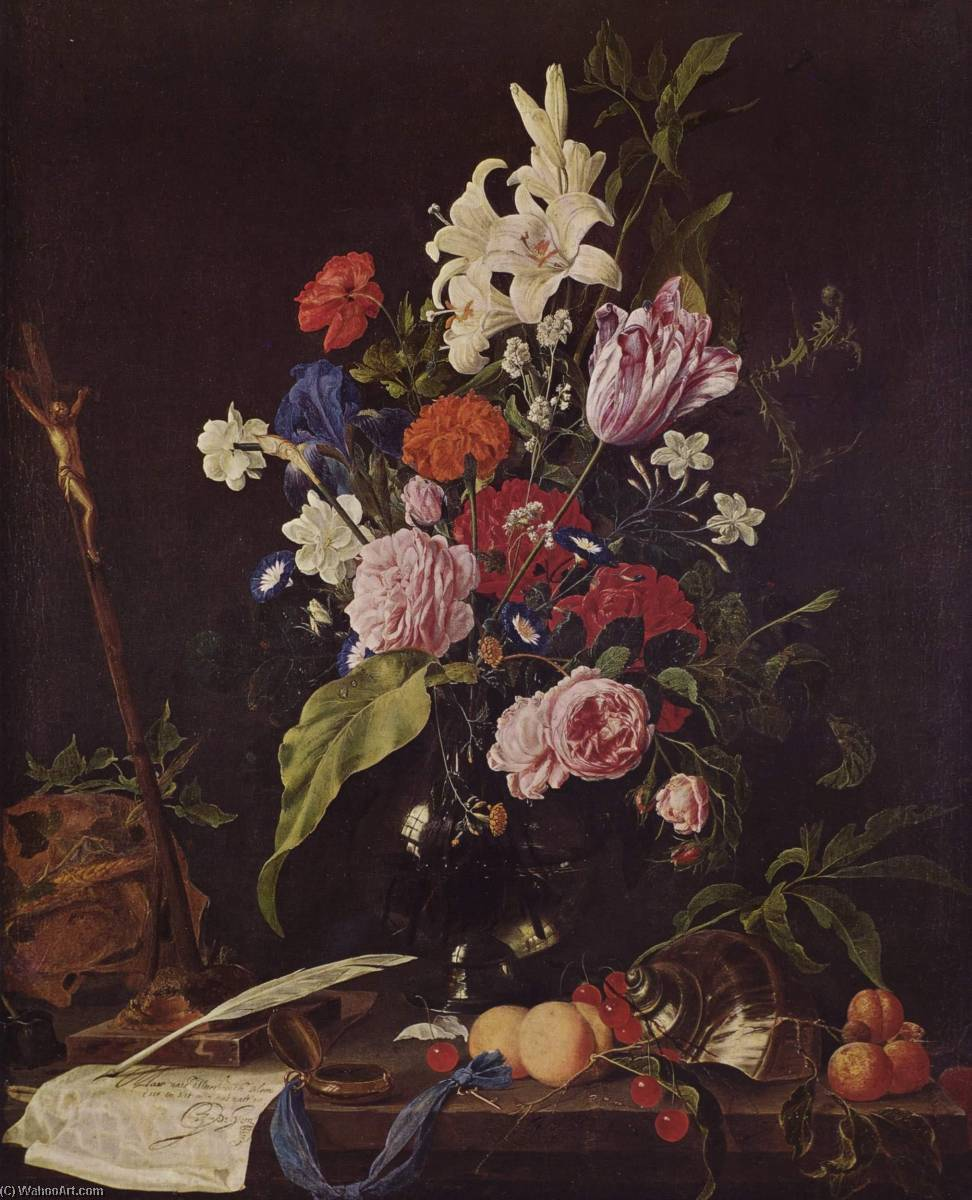 Flower Still life with Crucifix and Skull, 1640 by Jan Davidszoon De Heem (1606-1684) | Art Reproduction | ArtsDot.com