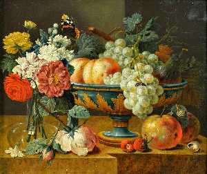 Jan Davidszoon De Heem - Fruit Bowl with Flowers