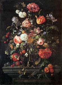 Jan Davidszoon De Heem - Flowers in Glass and Fruits