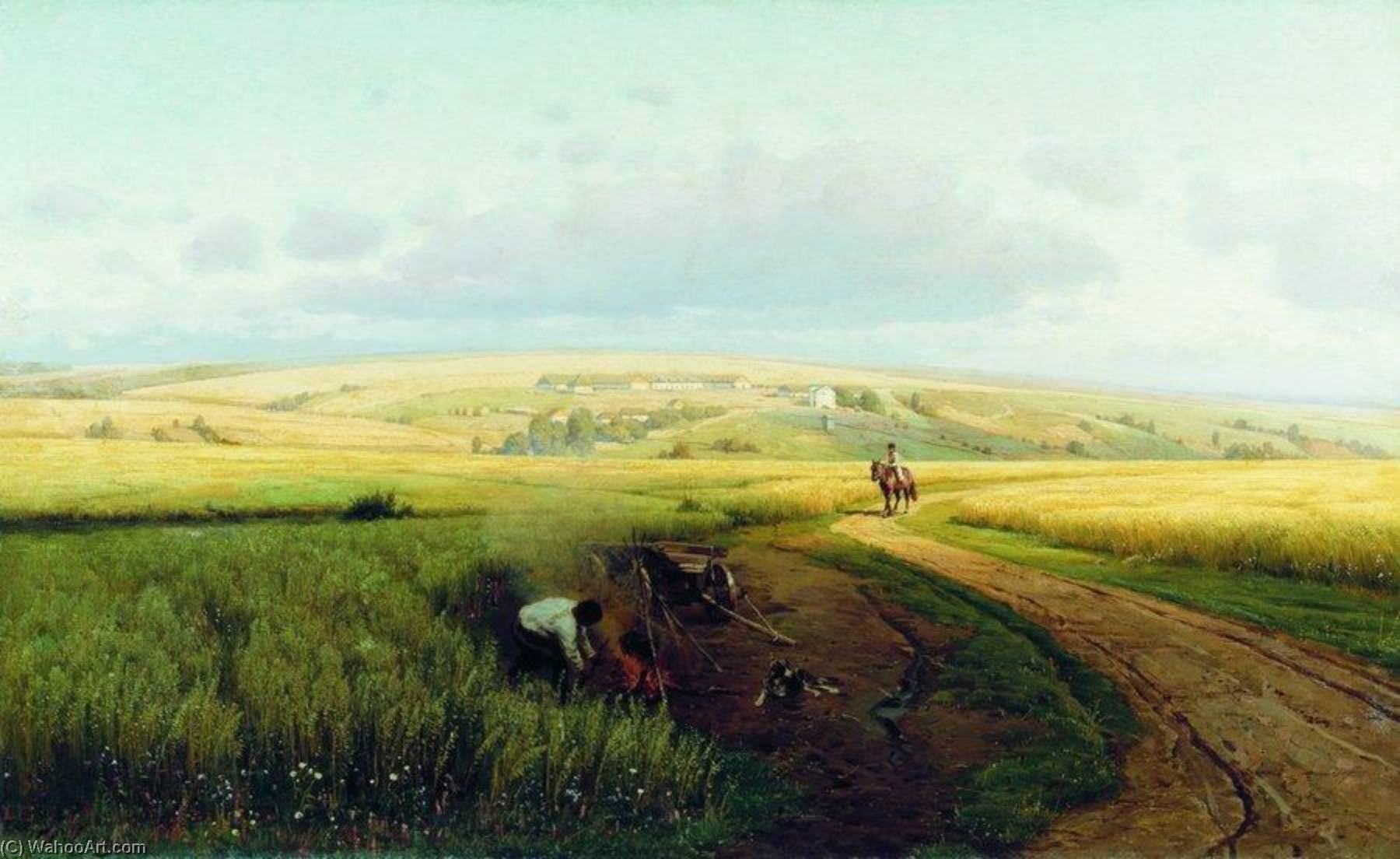Making Fire in the Field by Vladimir Orlovsky | Painting Copy | ArtsDot.com