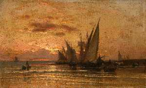 Vladimir Orlovsky - Fishing Boats at Sunrise