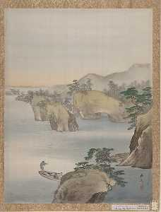 Kawabata Gyokushō - River Scene with Rocky Hills in Background