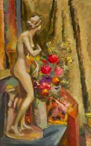 Keith Baynes - Statue and Flowers