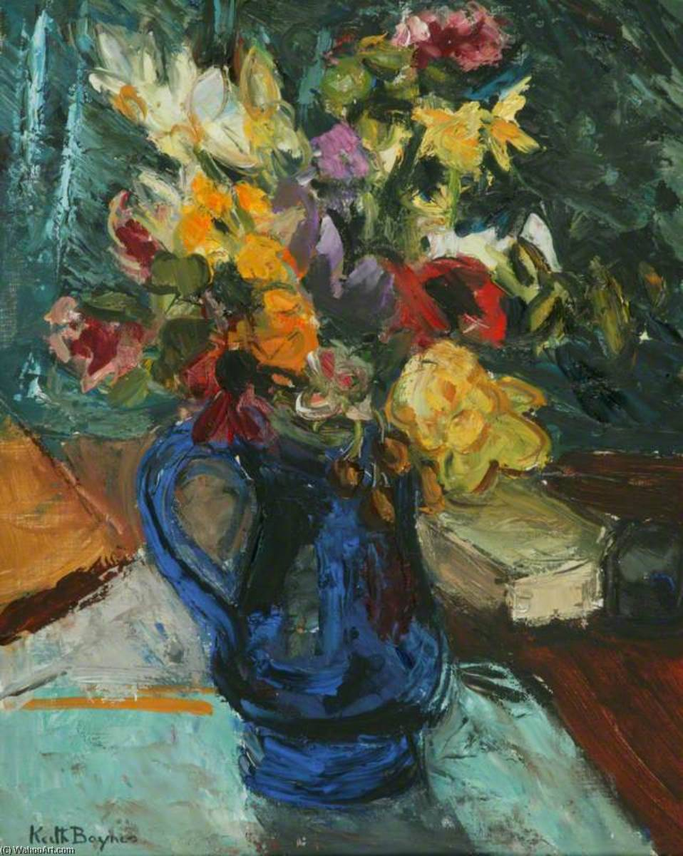 Flowers in a Blue Glass Jug by Keith Baynes | Oil Painting | ArtsDot.com