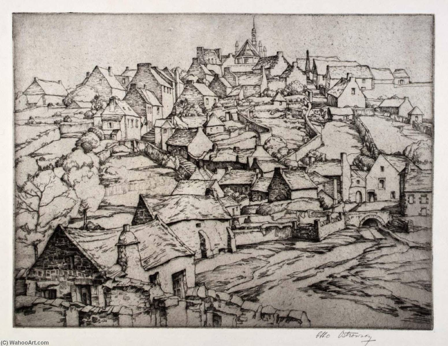 Brittany Village, 1930 by Abbo Ostrowsky | Painting Copy | ArtsDot.com