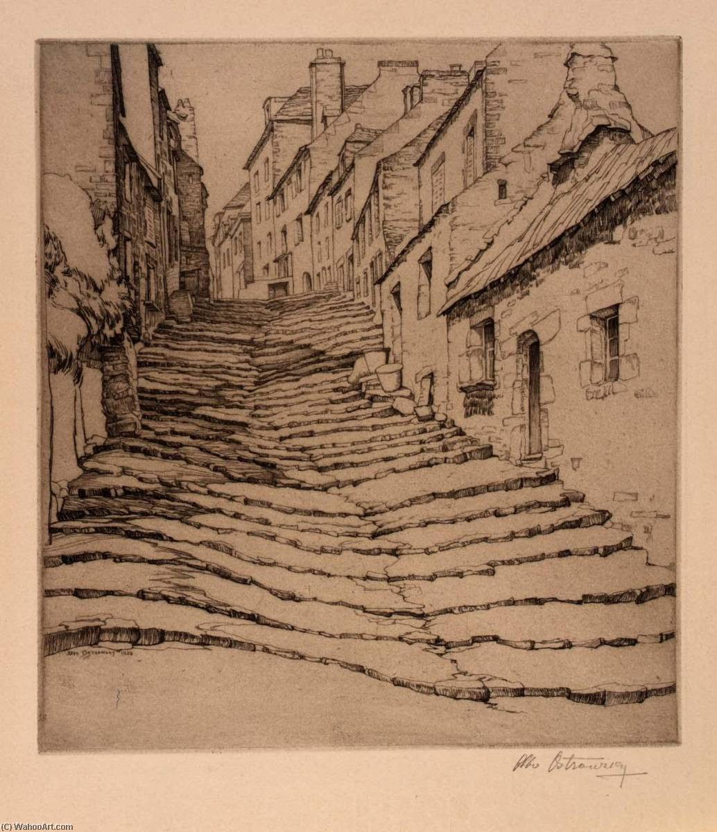 Cobblestone Stairway, 1928 by Abbo Ostrowsky | Museum Art Reproductions | ArtsDot.com