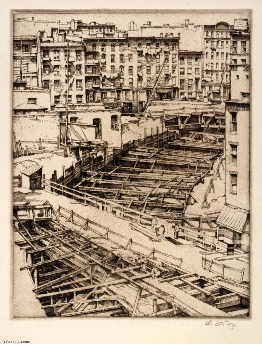 Bracings, Subway Excavation, 1937 by Abbo Ostrowsky | Painting Copy | ArtsDot.com