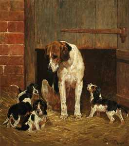 John Charlton - Foxhound and Litter