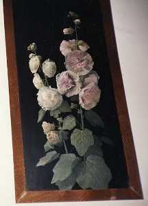 Horace G Hewes - (Pink Hollyhocks on Black..