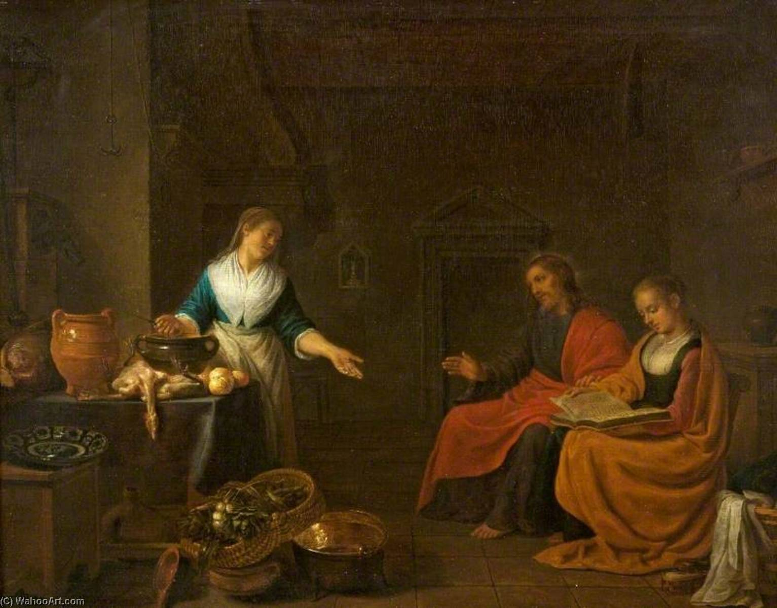Order Art Reproductions | Christ in the House of Martha and Mary, 1645 by Hendrik Martensz Sorgh (1610-1670) | ArtsDot.com