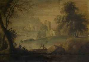 James Norie - River Landscape with Buildings and Figures