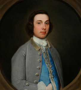 Henry Pickering - Portrait of an Unknown Young Gentleman in a Grey Coat and Light Blue Waistcoat