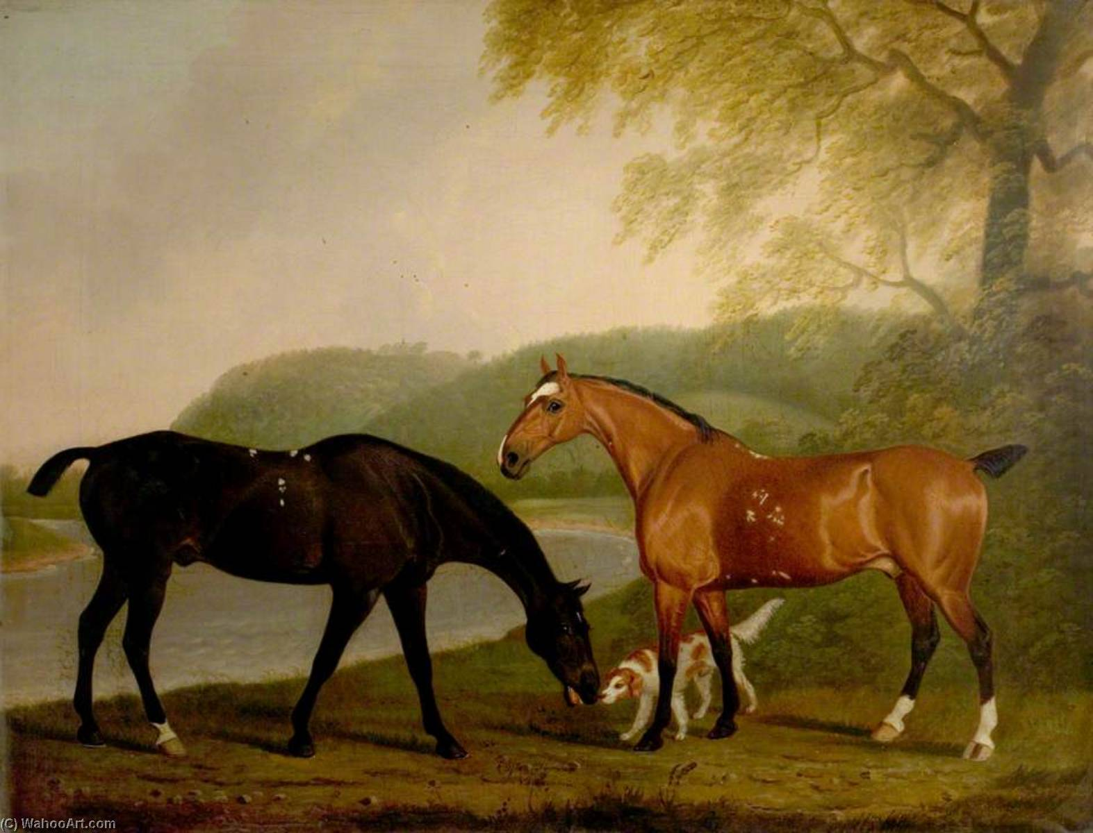 Horses and Dog in a Landscape, 1830 by Clifton Tomson | Paintings Reproductions Clifton Tomson | ArtsDot.com