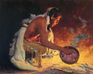 Eanger Irving Couse - Indian by Firelight