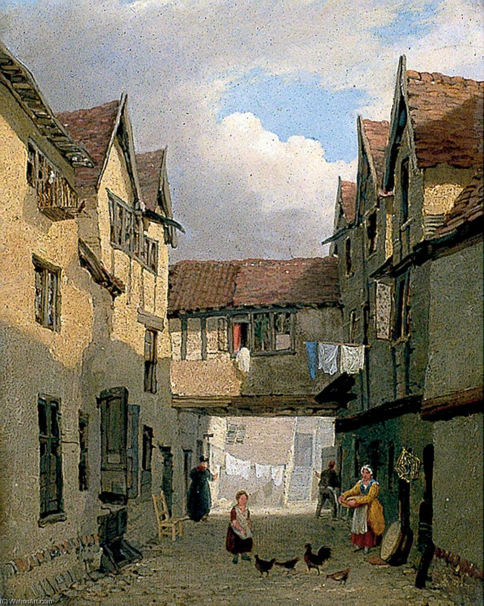 Old Houses near St Benedict`s Church, Norwich by Henry Ninham | Museum Art Reproductions | ArtsDot.com