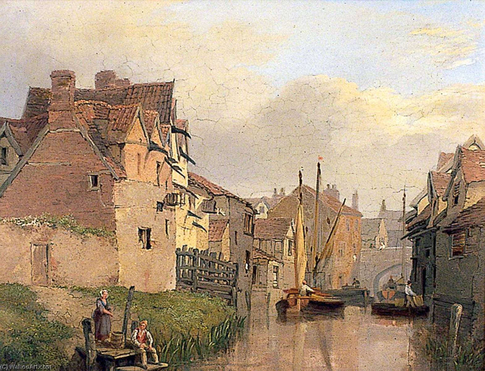 Norwich Scene with Whitefriars Bridge by Henry Ninham | Museum Art Reproductions | ArtsDot.com