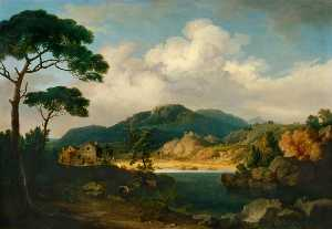 John Tobias Young - Italianate Landscape with Umbrella Pines and River