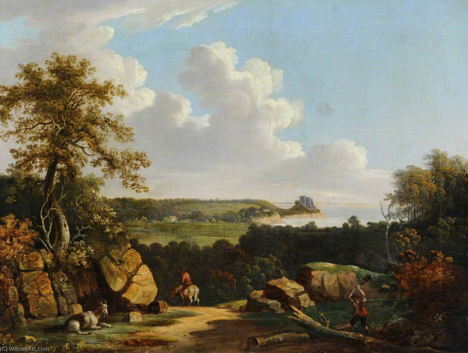 Rural Landscape with Mont Orgueil by John Tobias Young | Museum Art Reproductions John Tobias Young | ArtsDot.com