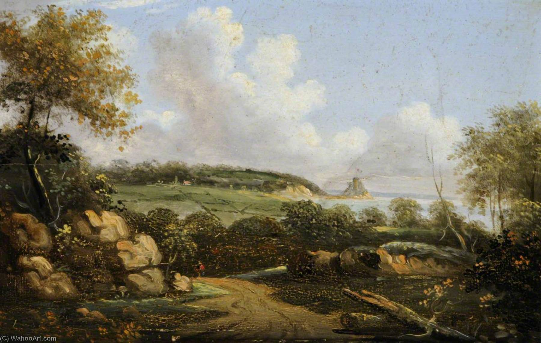 Landscape and Sea View Looking towards Gorey Castle by John Tobias Young | Museum Quality Copies John Tobias Young | ArtsDot.com