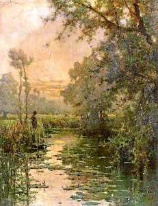 Alfred De Breanski Senior - Fishing in a Stream