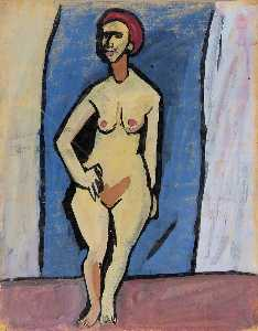 William Henry Johnson - Standing Female Nude with Red Hair