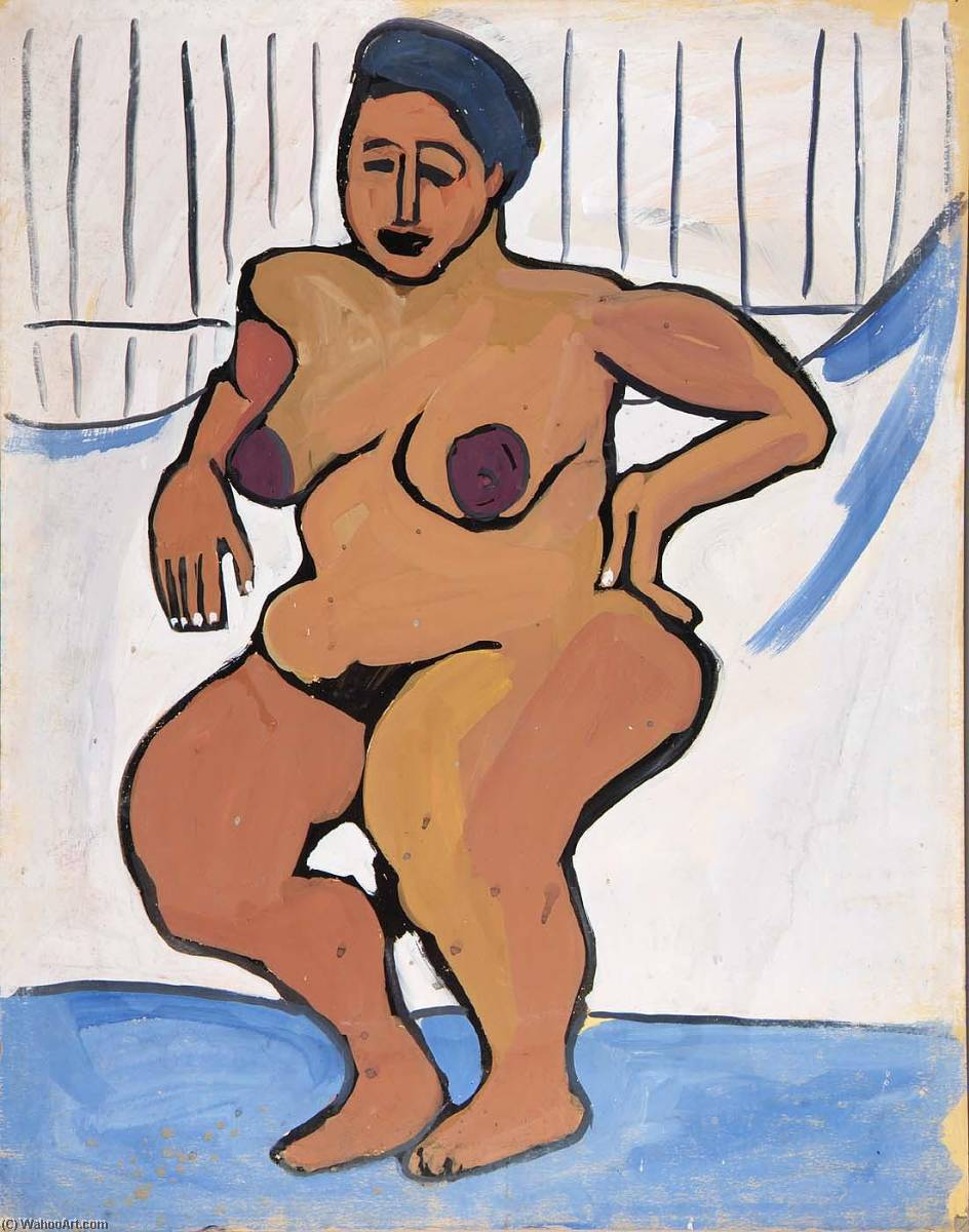 Female Nude against White Background, 1940 by William Henry Johnson (1901-1970, United States) | Art Reproduction | ArtsDot.com