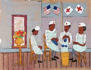 William Henry Johnson - Knitting Party