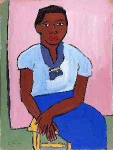 William Henry Johnson - Seated Woman in Blue Dress on Yellow Stool