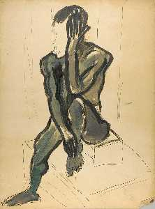 William Henry Johnson - Seated Male Model with Raised Leg