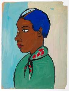 William Henry Johnson - Bust of Woman with Blue Hair and Green and Red Scarf