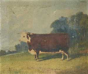 Richard Whitford - A Prize Cow in a Wooded R..