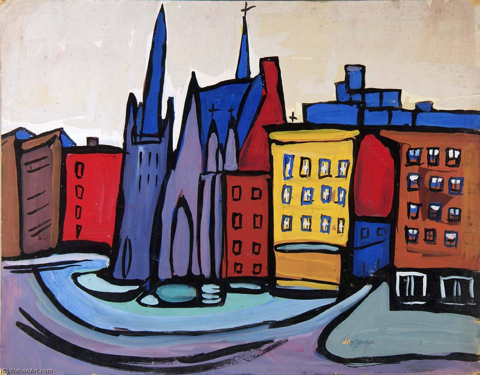 Harlem Cityscape with Church, 1940 by William Henry Johnson (1901-1970, United States) | Museum Quality Reproductions | ArtsDot.com