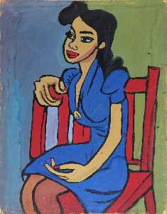 William Henry Johnson - Woman in Blue Dress in Red Chair