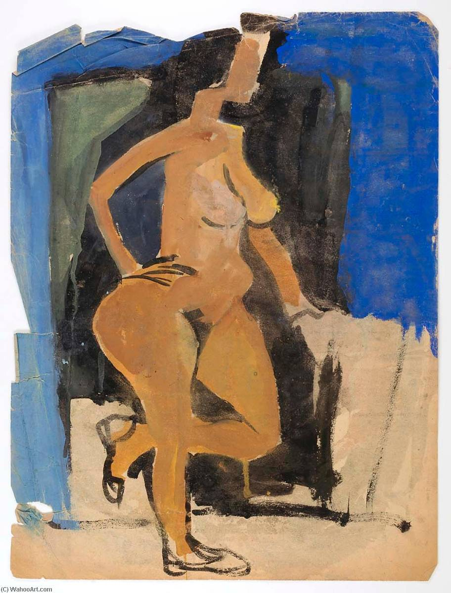 Standing Female Nude in Profile, 1940 by William Henry Johnson (1901-1970, United States) | Art Reproduction | ArtsDot.com