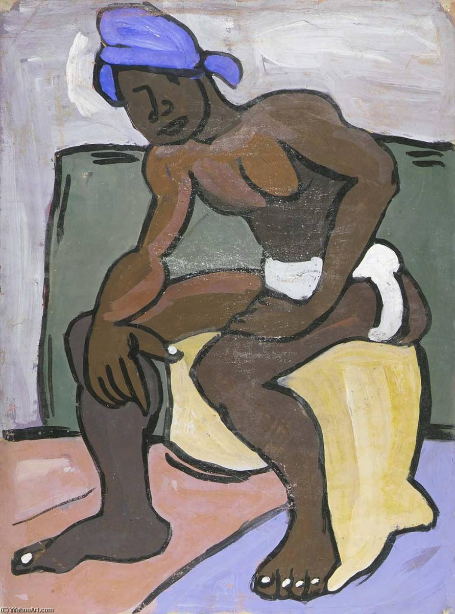 Seated Male Model with Blue Turban, 1940 by William Henry Johnson (1901-1970, United States) | Art Reproduction | ArtsDot.com
