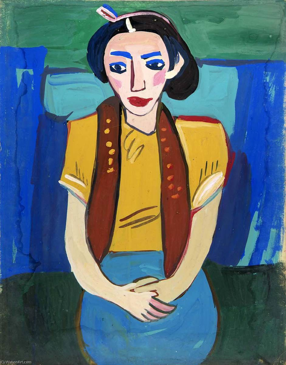 Seated Woman with Yellow Blouse, 1940 by William Henry Johnson (1901-1970, United States) | Oil Painting | ArtsDot.com