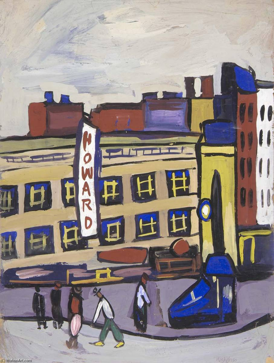 City Street Scene, 1940 by William Henry Johnson (1901-1970, United States) | Painting Copy | ArtsDot.com