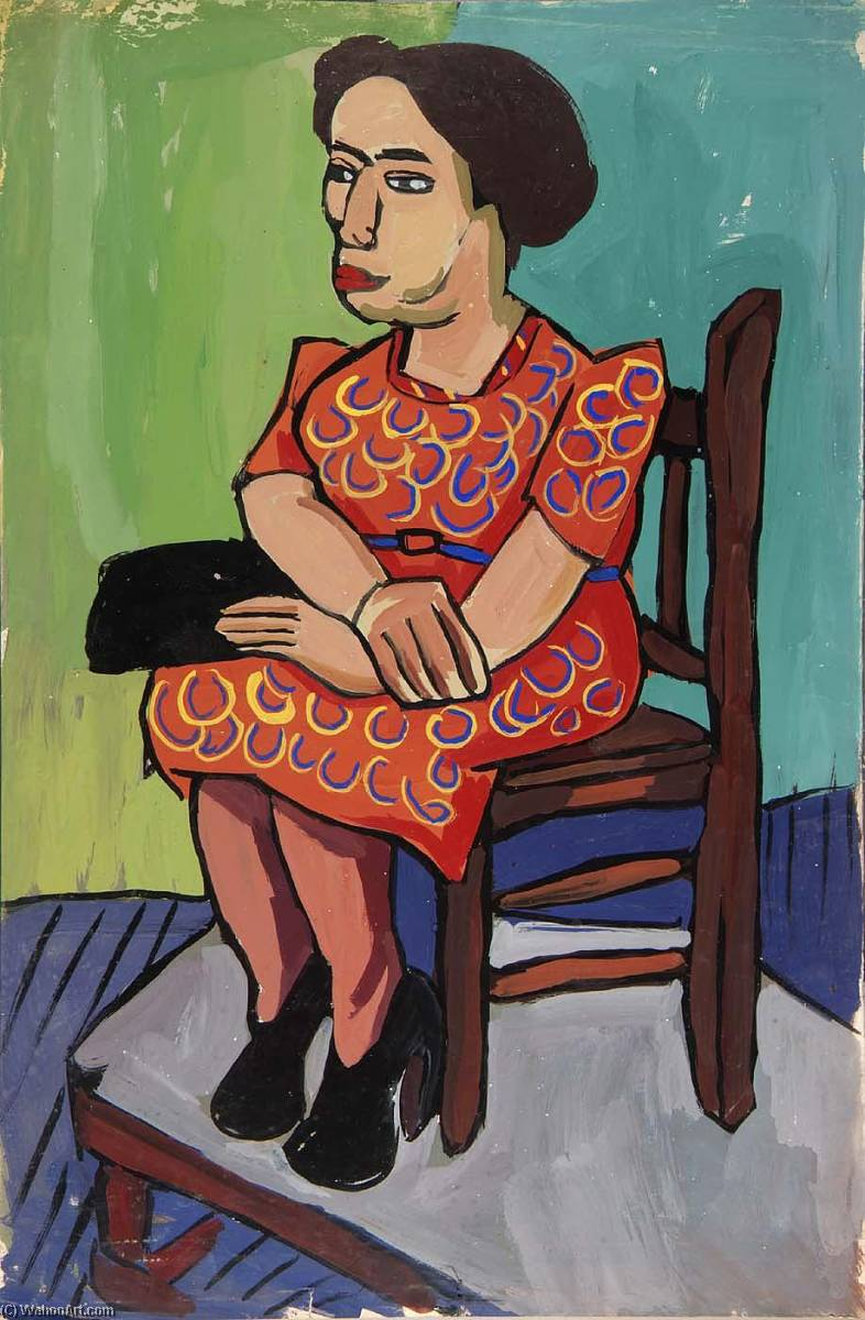 Seated Woman in Orange Print Dress, 1940 by William Henry Johnson (1901-1970, United States) | Art Reproduction | ArtsDot.com