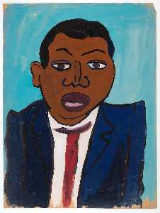William Henry Johnson - Bust of Man in Blue Jacket and Red Tie