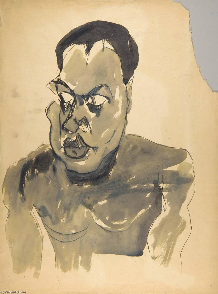 Male Nude Portrait Bust, 1940 by William Henry Johnson (1901-1970, United States) | Oil Painting | ArtsDot.com