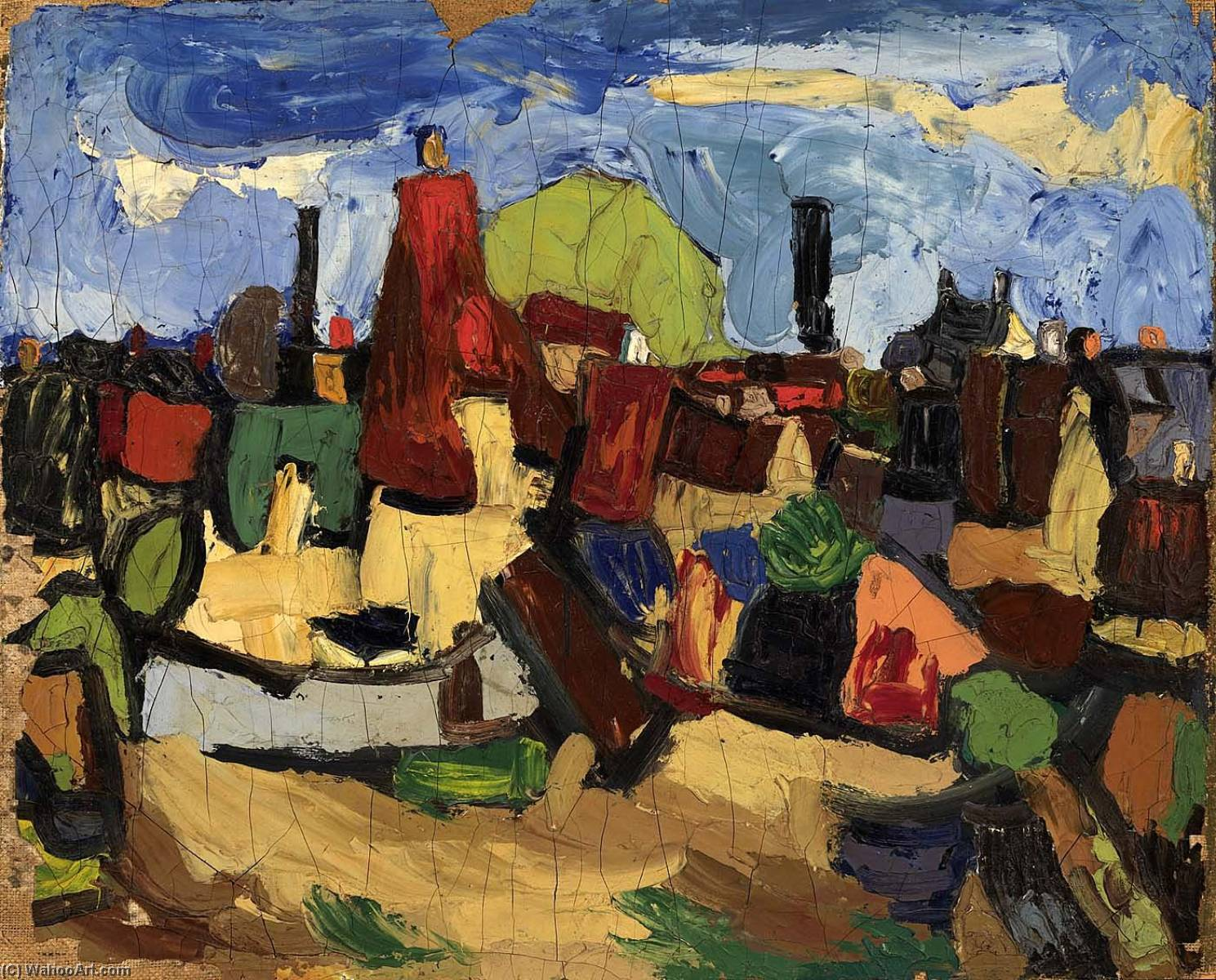 Danish Village, 1935 by William Henry Johnson (1901-1970, United States) | Museum Art Reproductions | ArtsDot.com